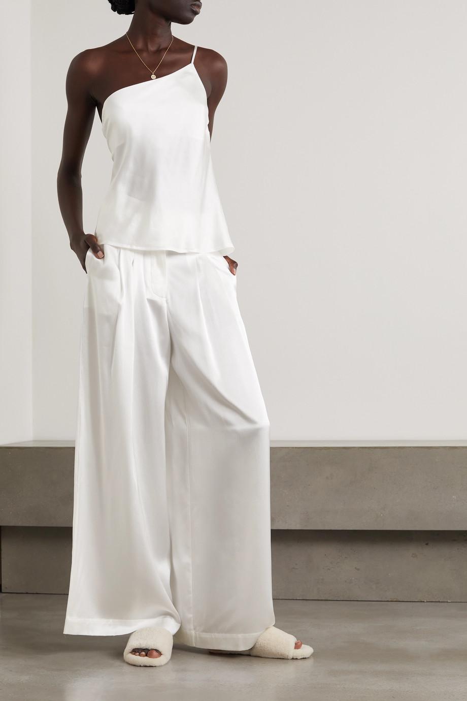 Maison Essentiele Olivia Hose mit weitem Bein aus Seidensatin mit Falten