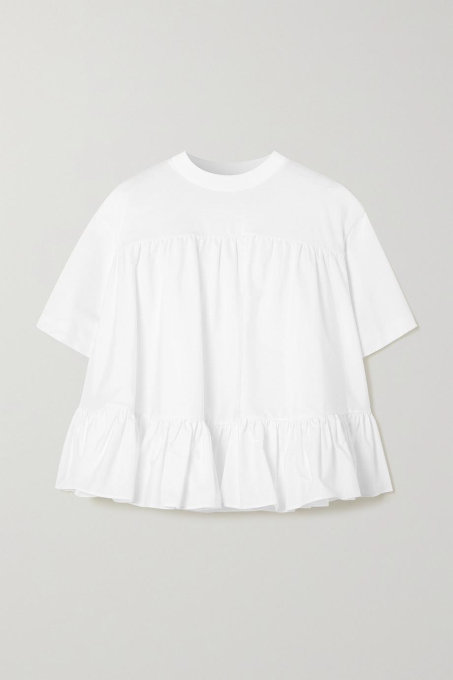 Alexander McQueen T-Shirt aus Baumwoll-Jersey und Faille mit Rüschen