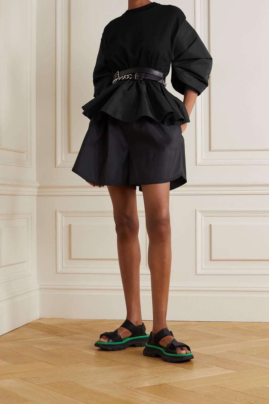 Alexander McQueen Sweatshirt aus Baumwoll-Jersey und Faille mit Raffungen und Schößchen