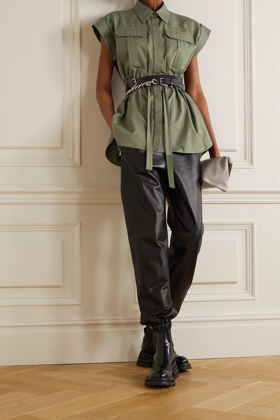 Alexander McQueen Hemd aus Baumwollpopeline mit Raffungen