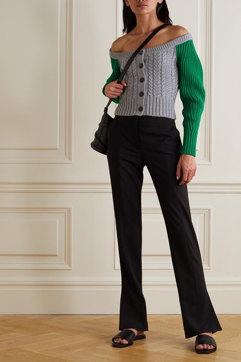 Alexander McQueen Zweifarbiger Cardigan aus einer Woll-Kaschmirmischung in Zopfstrick
