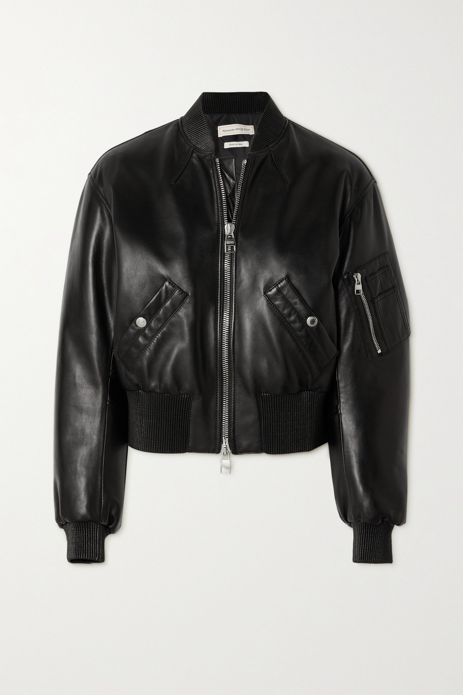 Alexander McQueen Cropped leather bomber jacket