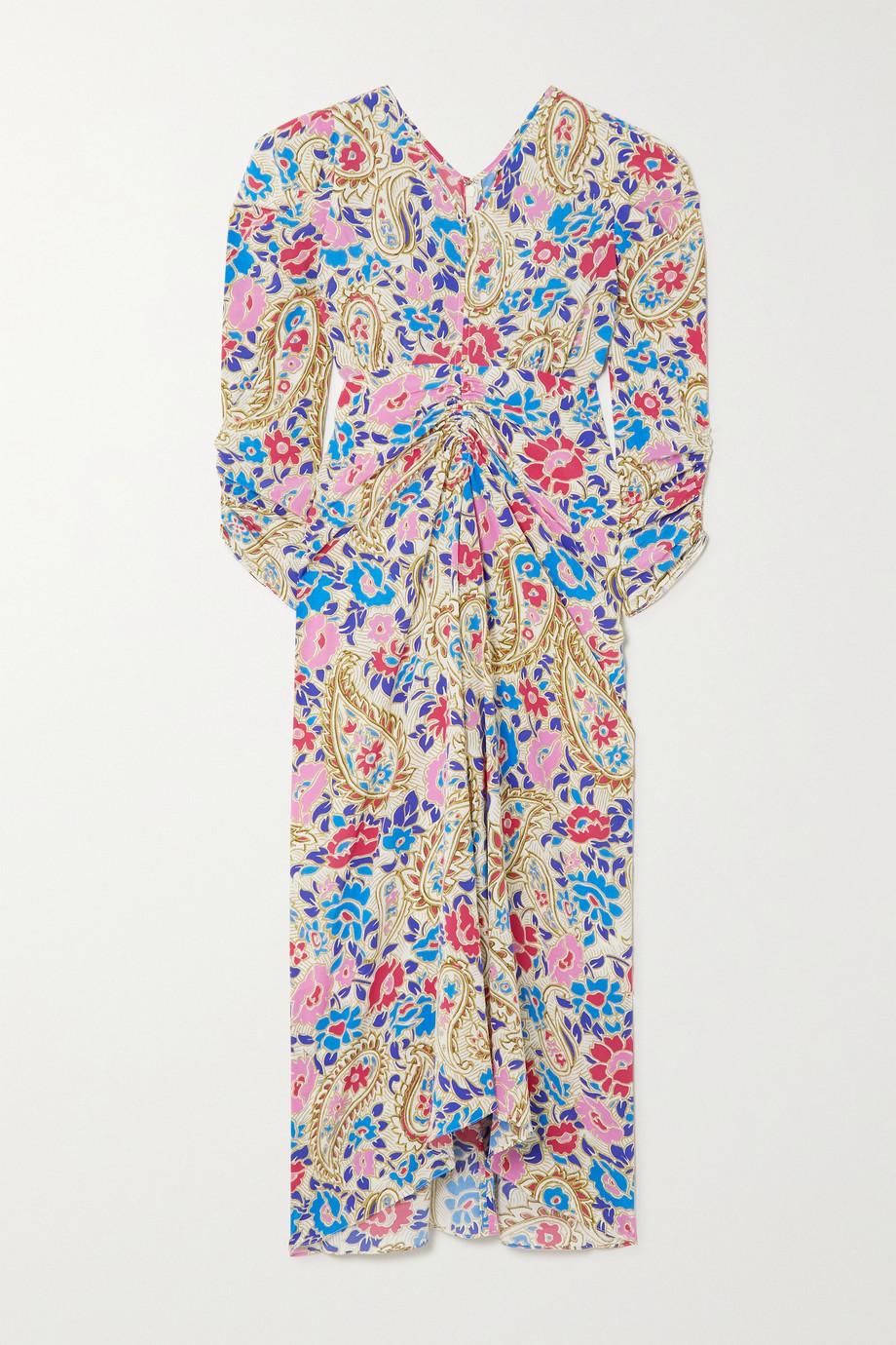 Isabel Marant Robe midi en crêpe de Chine de soie mélangée imprimé à fronces Albi