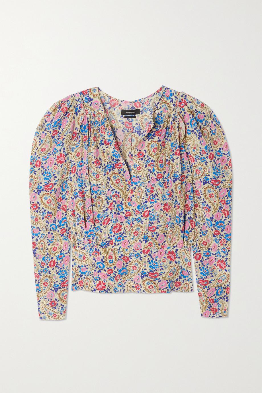 Isabel Marant Zarga pleated printed silk-blend crepe de chine blouse