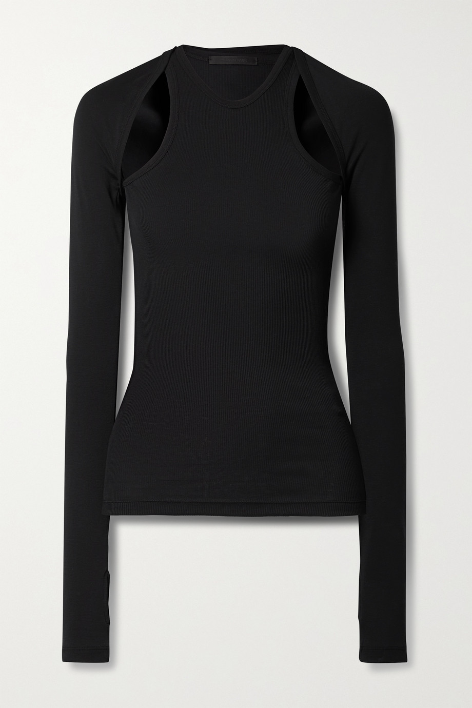 Helmut Lang Layered ribbed cotton-jersey top