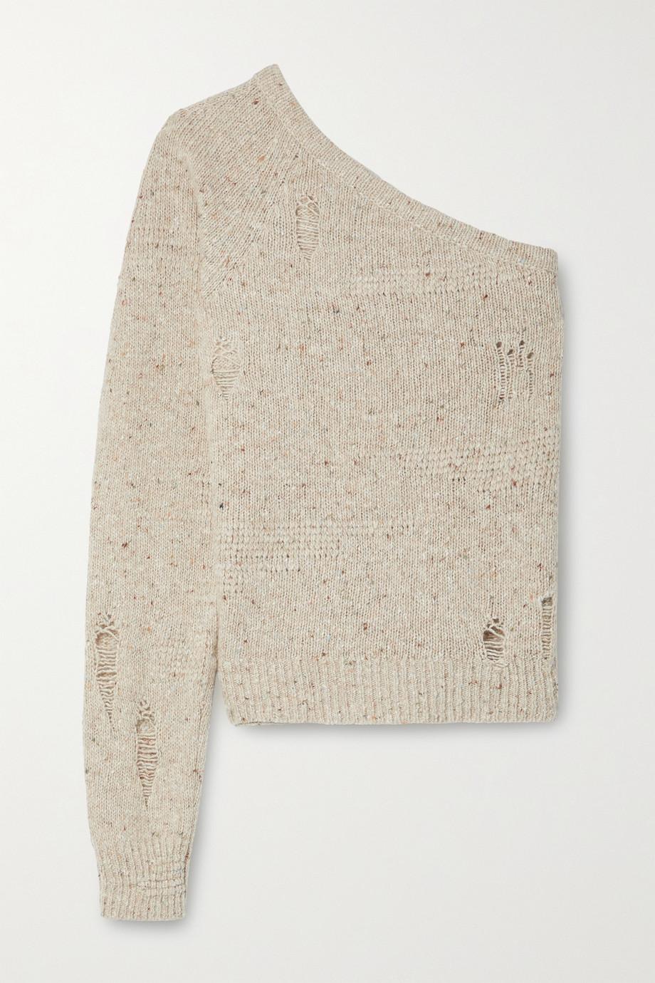 Helmut Lang Pullover aus einer Wollmischung mit asymmetrischer Schulterpartie und Distressed-Details