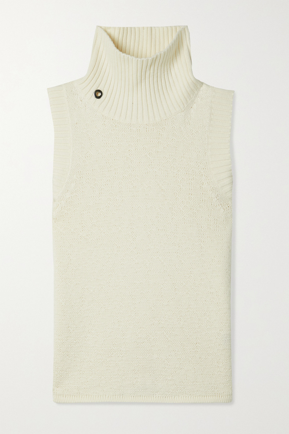 Helmut Lang Pull sans manches à col montant en coton et laine mélangés