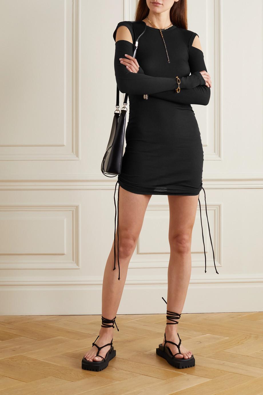 Helmut Lang Cold-shoulder ruched ribbed cotton-jersey mini dress