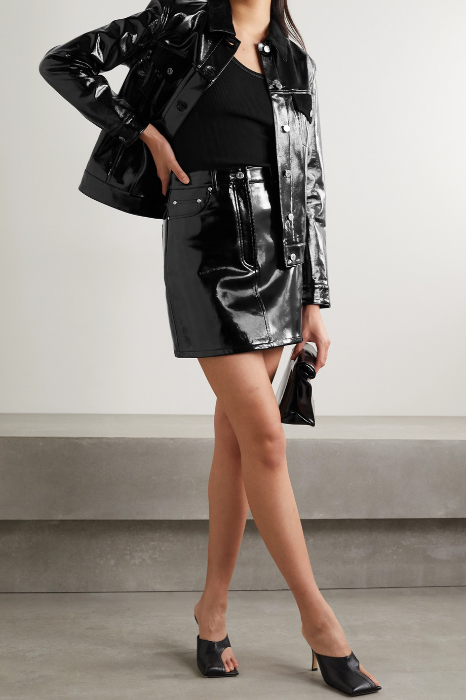 Helmut Lang Mini-jupe en cuir verni