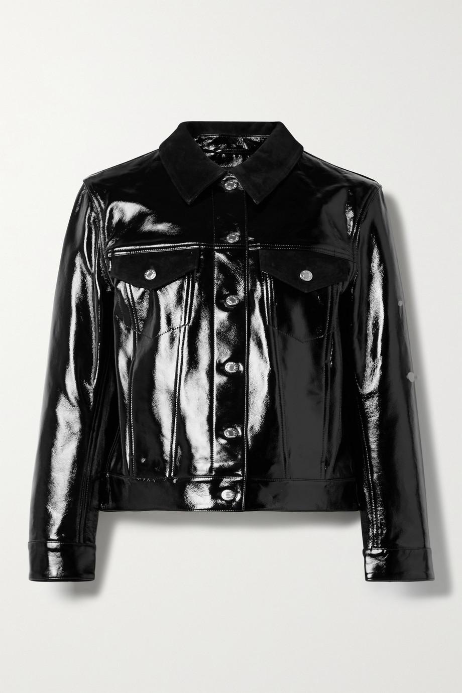 Helmut Lang Suede-trimmed patent-leather jacket