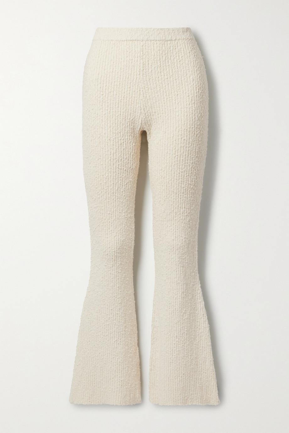 Helmut Lang Ribbed cotton-blend bouclé flared pants