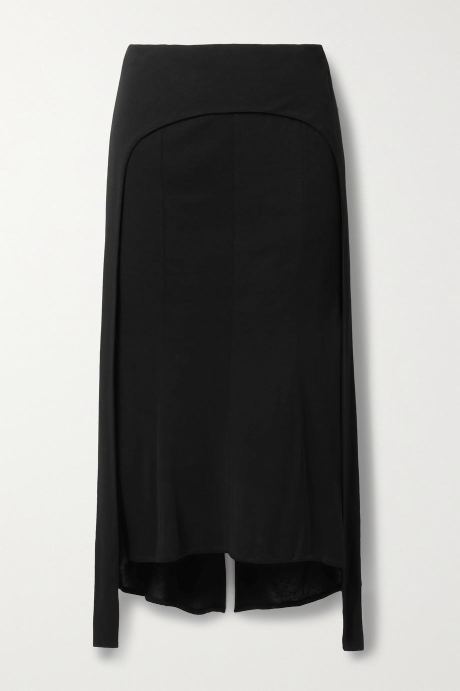 Helmut Lang Layered jersey midi skirt
