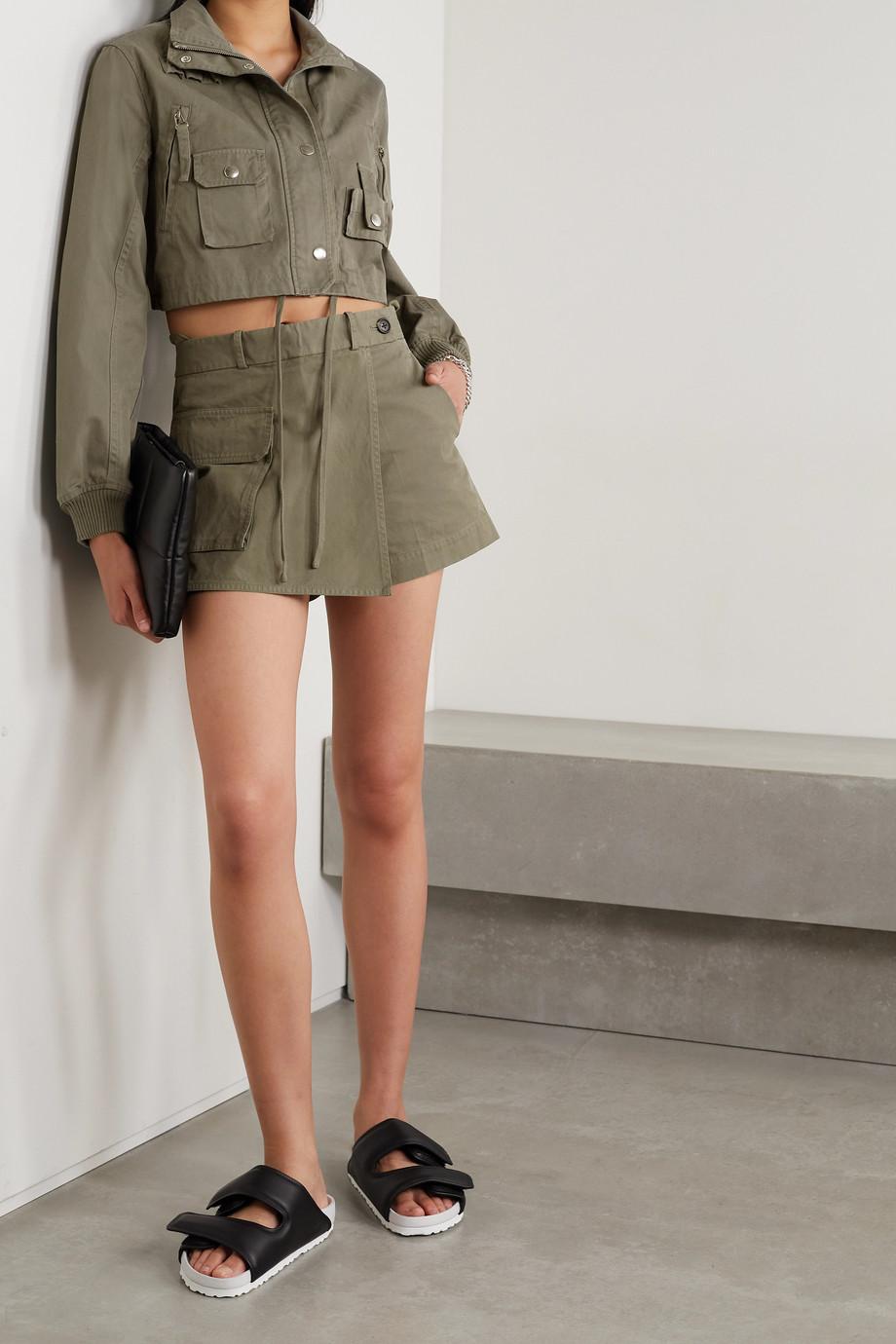 Helmut Lang Layered cotton-twill shorts