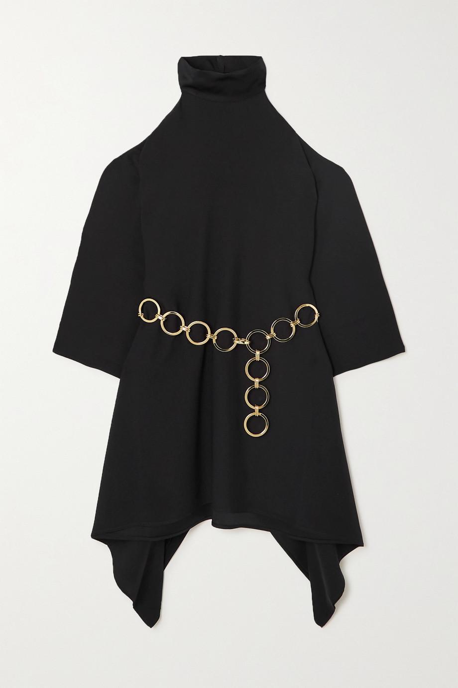 Taller Marmo Piccola Divina cold-shoulder belted crepe mini dress