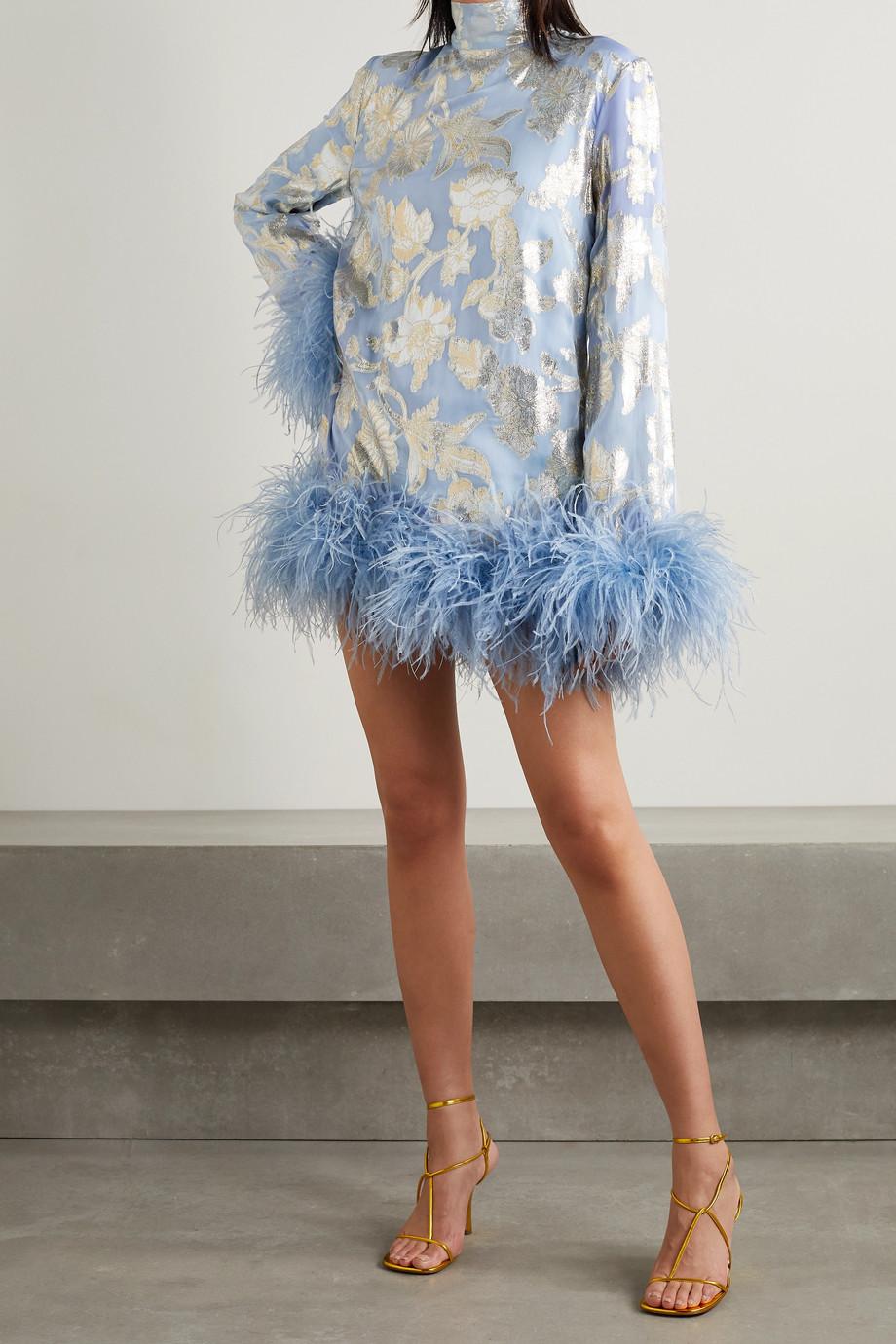 Taller Marmo Mini-robe en mousseline de soie mélangée à fil coupé métallisé et à plumes Gina