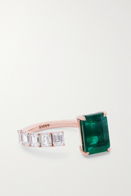 SHAY - 18-karat rose gold, emerald and diamond ring