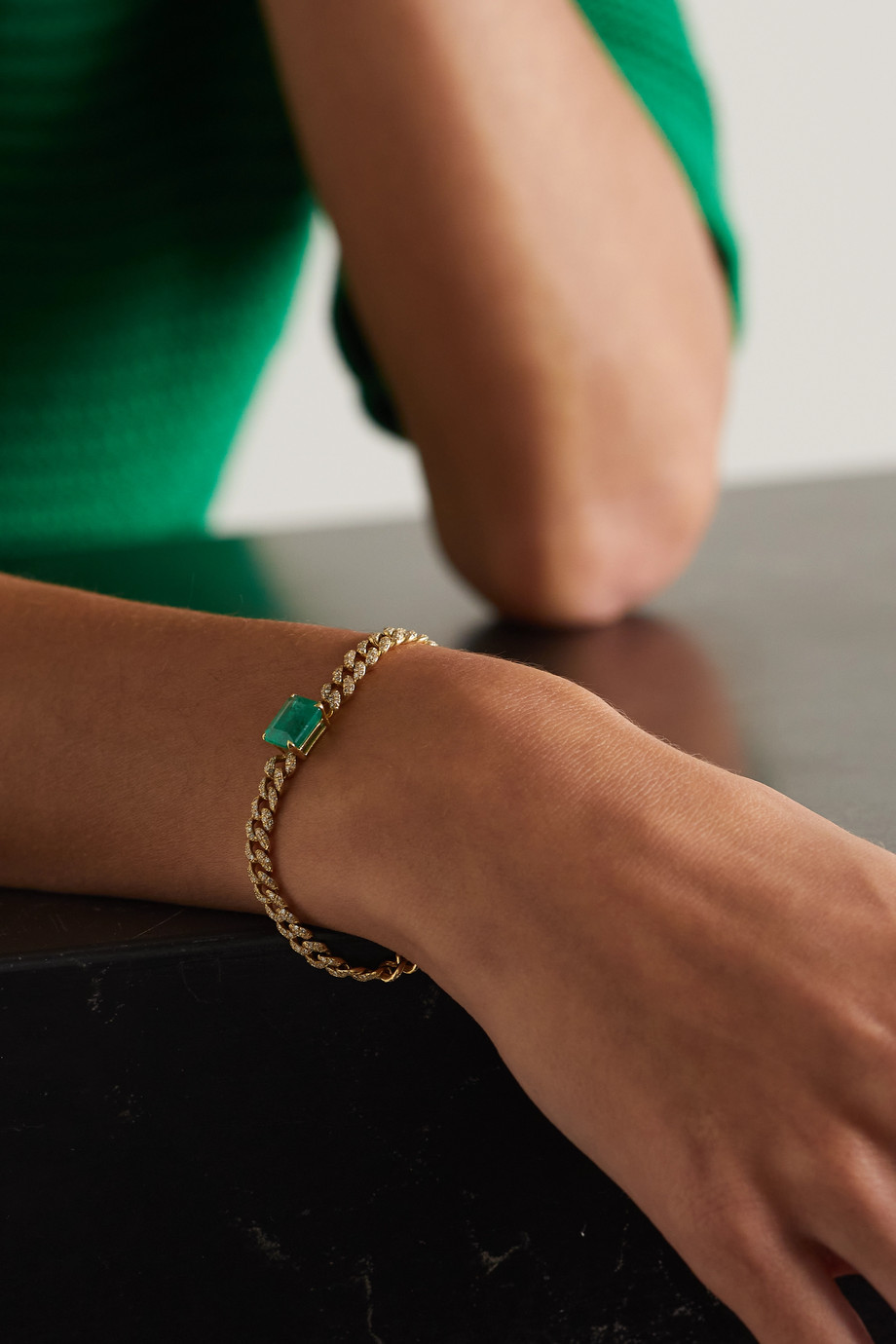 SHAY 18-karat gold, emerald and diamond bracelet