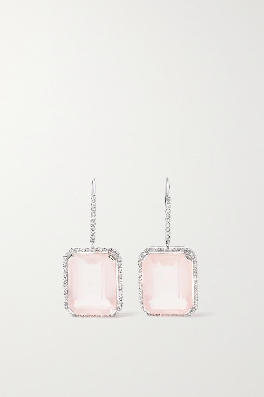 SHAY 18-karat white gold, crystal and diamond earrings