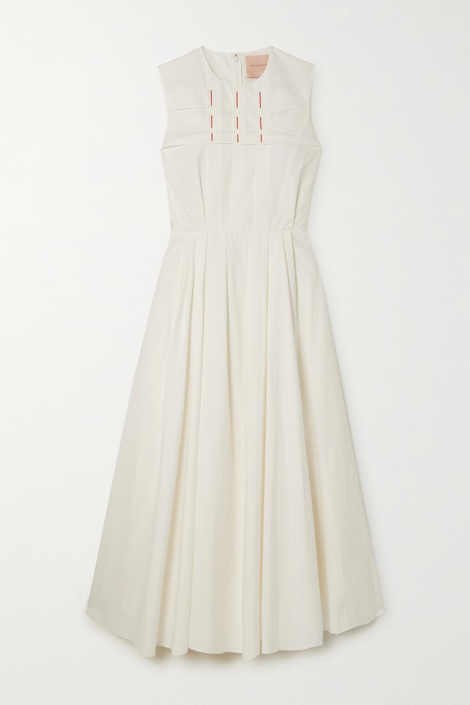 Roksanda Yuzu embroidered pleated cotton-poplin midi dress