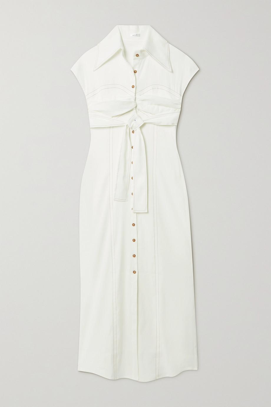 aaizél + NET SUSTAIN Belted linen-blend maxi shirt dress