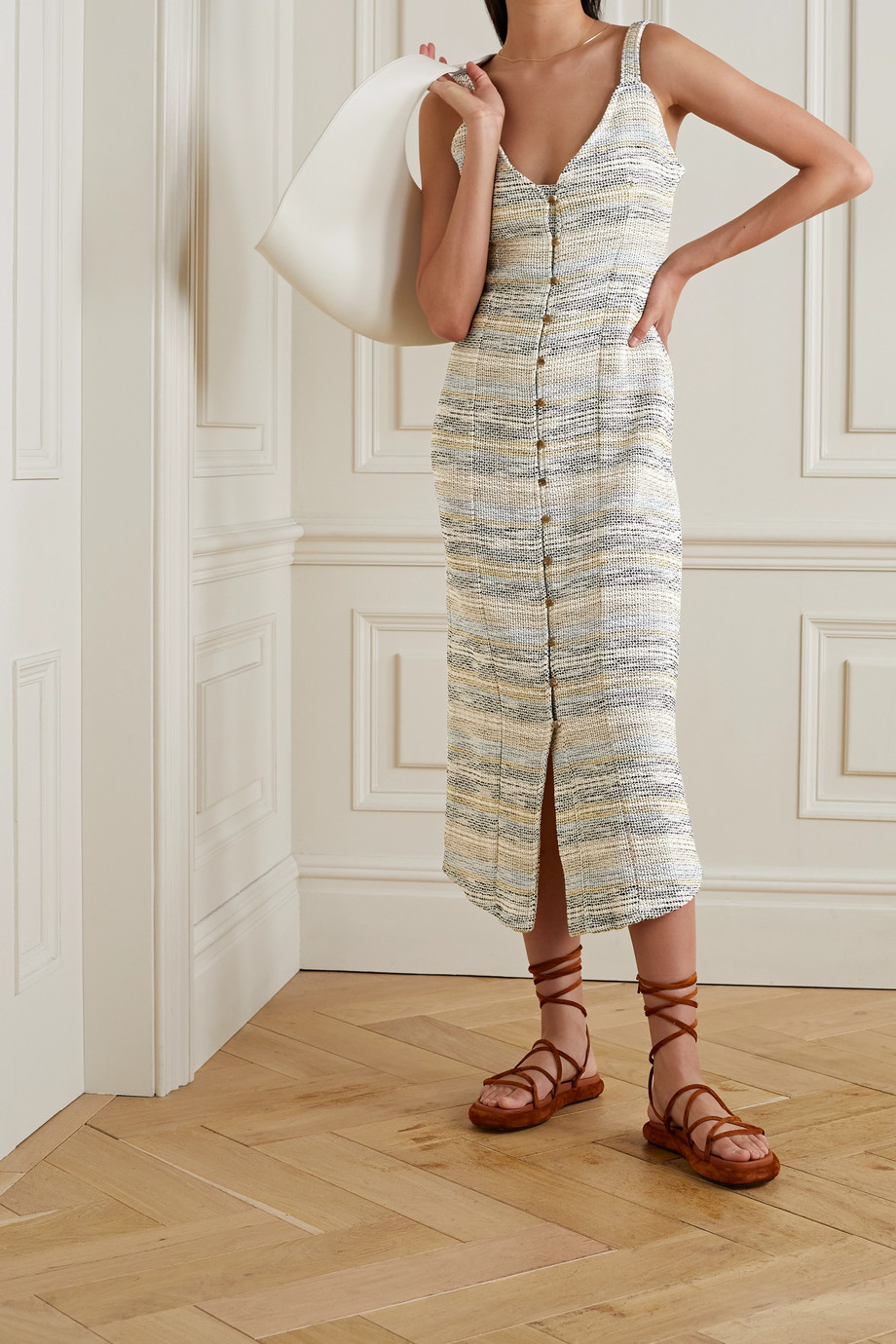 aaizél + NET SUSTAIN cotton-blend bouclé midi dress