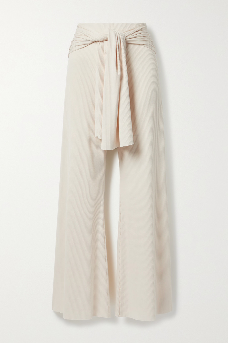 aaizél + NET SUSTAIN tie-front ribbed-knit flared pants