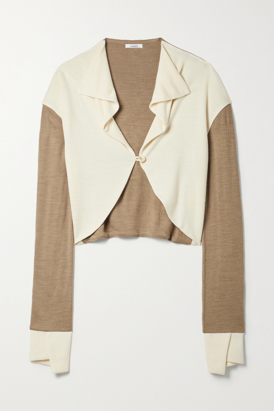 aaizél + NET SUSTAIN cropped two-tone knitted cardigan