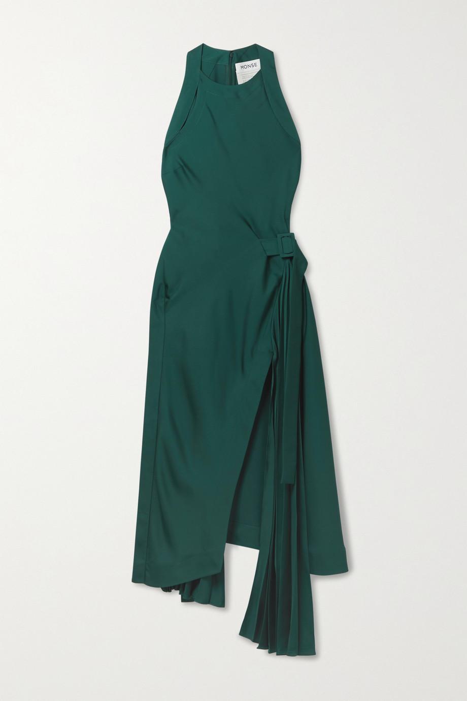 Monse Asymmetric wrap-effect pleated satin-crepe midi dress
