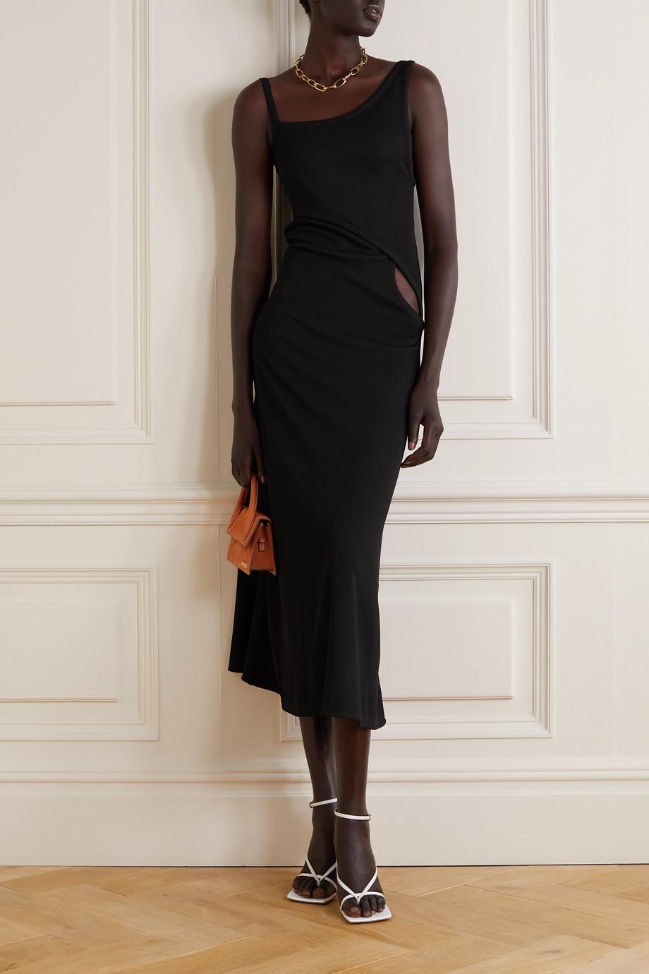 Christopher Esber Asymmetrisches Kleid aus geripptem Stretch-Jersey mit Cut-out