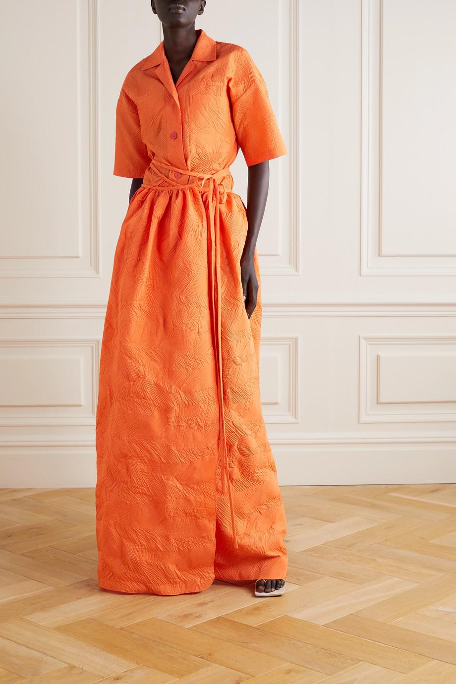 Christopher Esber Crinkled cloqué maxi wrap skirt