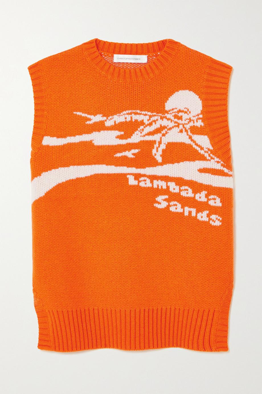 Christopher Esber Lambada Sands rückenfreier ärmelloser Pullover aus einer Woll-Kaschmirmischung mit Intarsienmotiv
