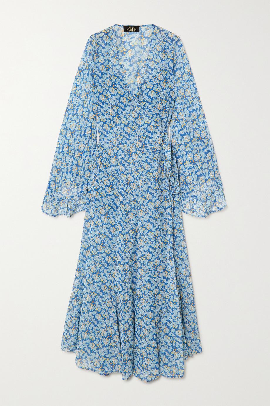 De La Vali Oswoldo Maxi-Wickelkleid aus recyceltem Georgette mit Blumenprint
