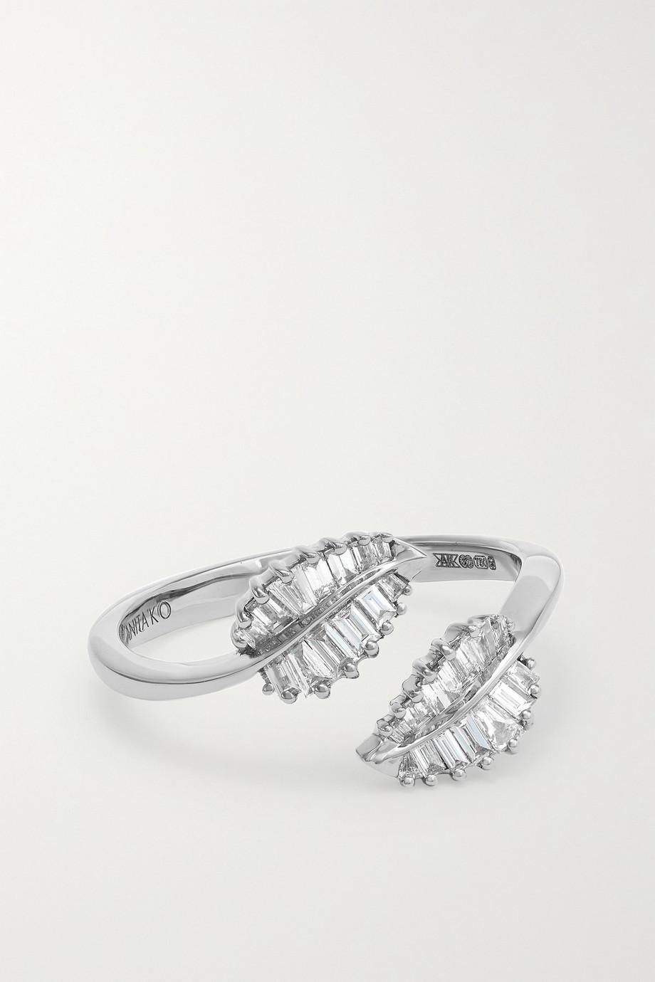 Anita Ko Bague en or blanc 18 carats (750/1000) et diamants Small Palm Leaf
