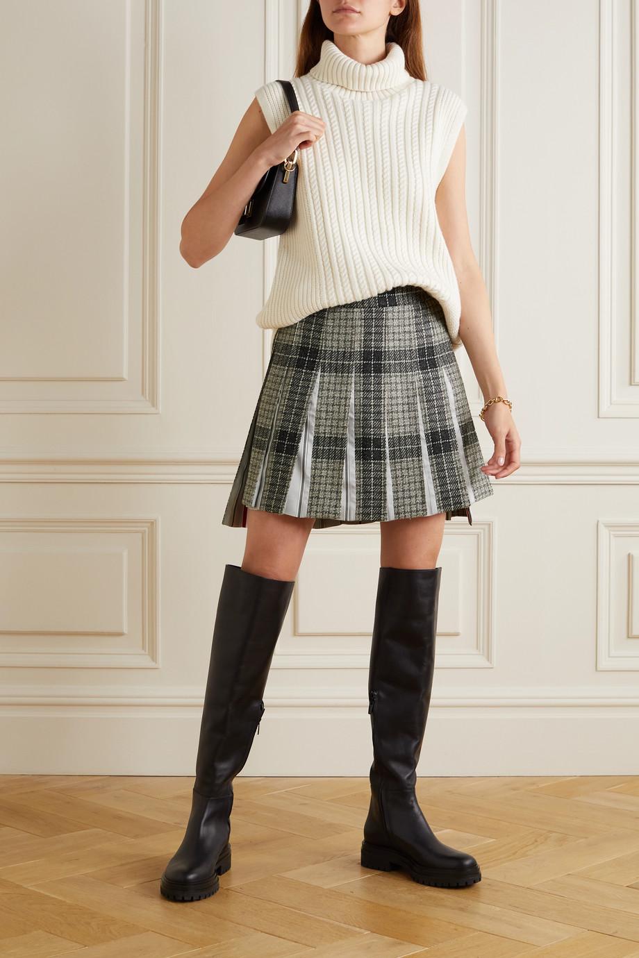 Thom Browne Checked wool-tweed and striped cotton-poplin mini skirt