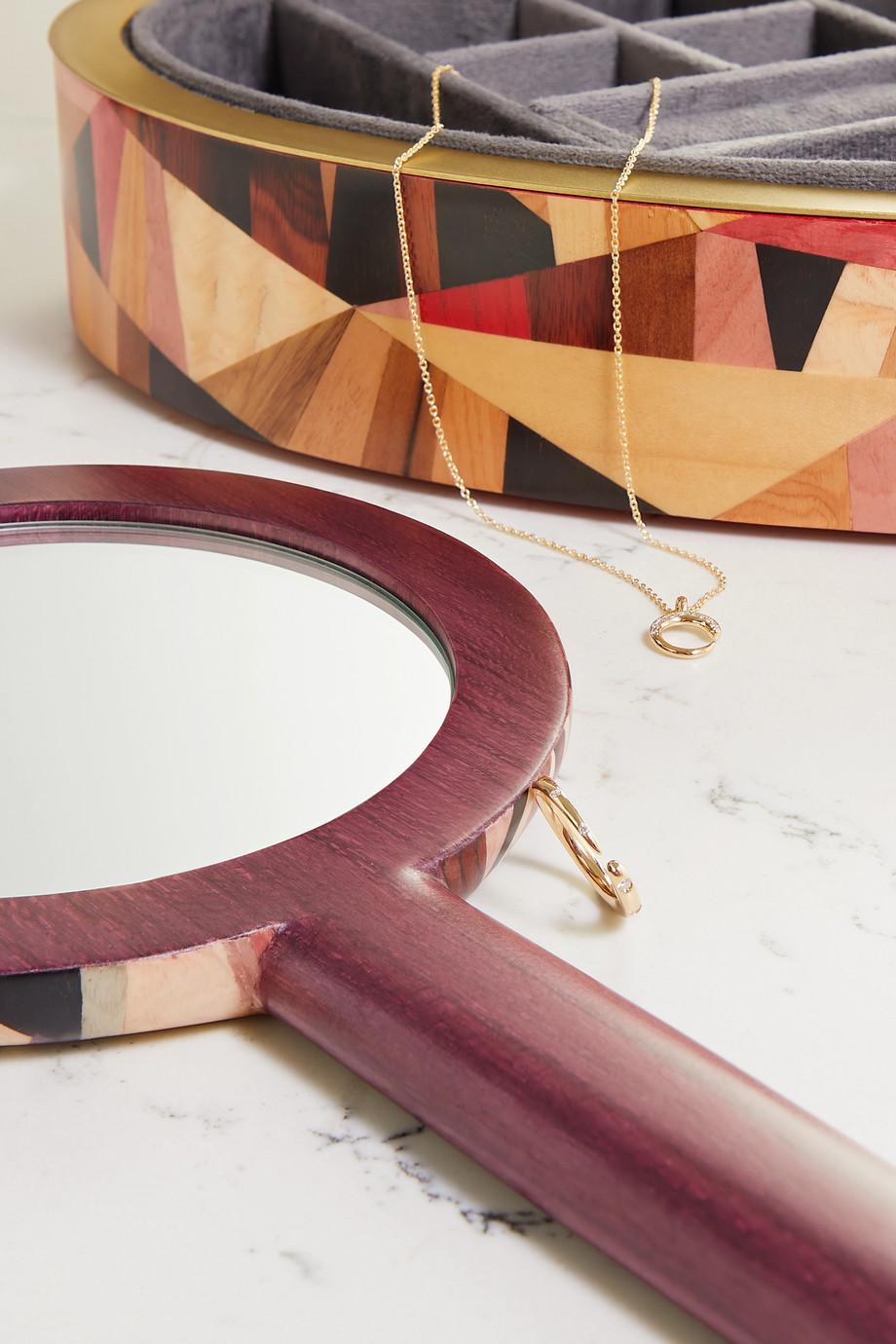 Silvia Furmanovich Miroir à main en bois Marquetry