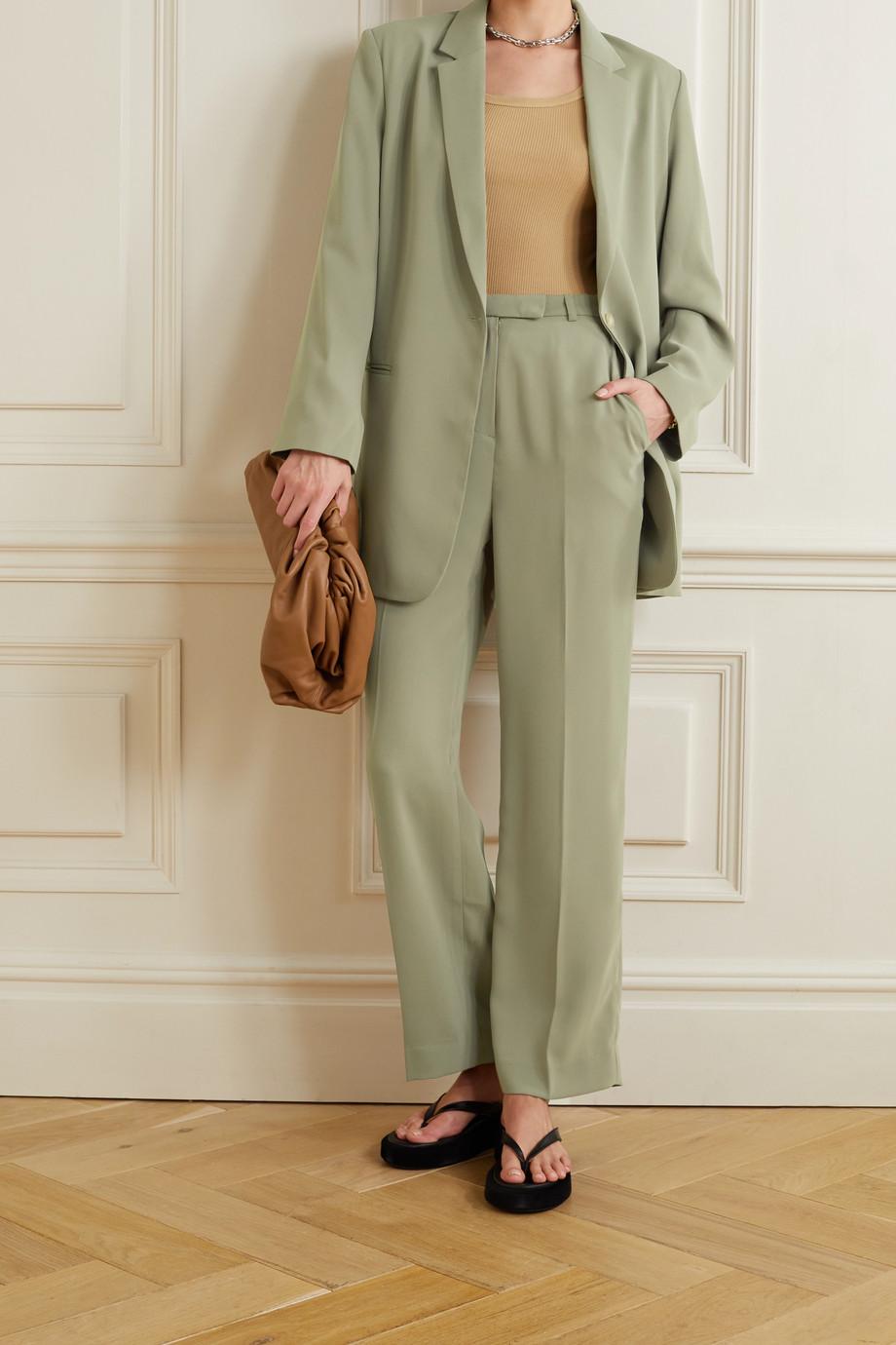 Frankie Shop Pantalon droit en crêpe à plis Isla