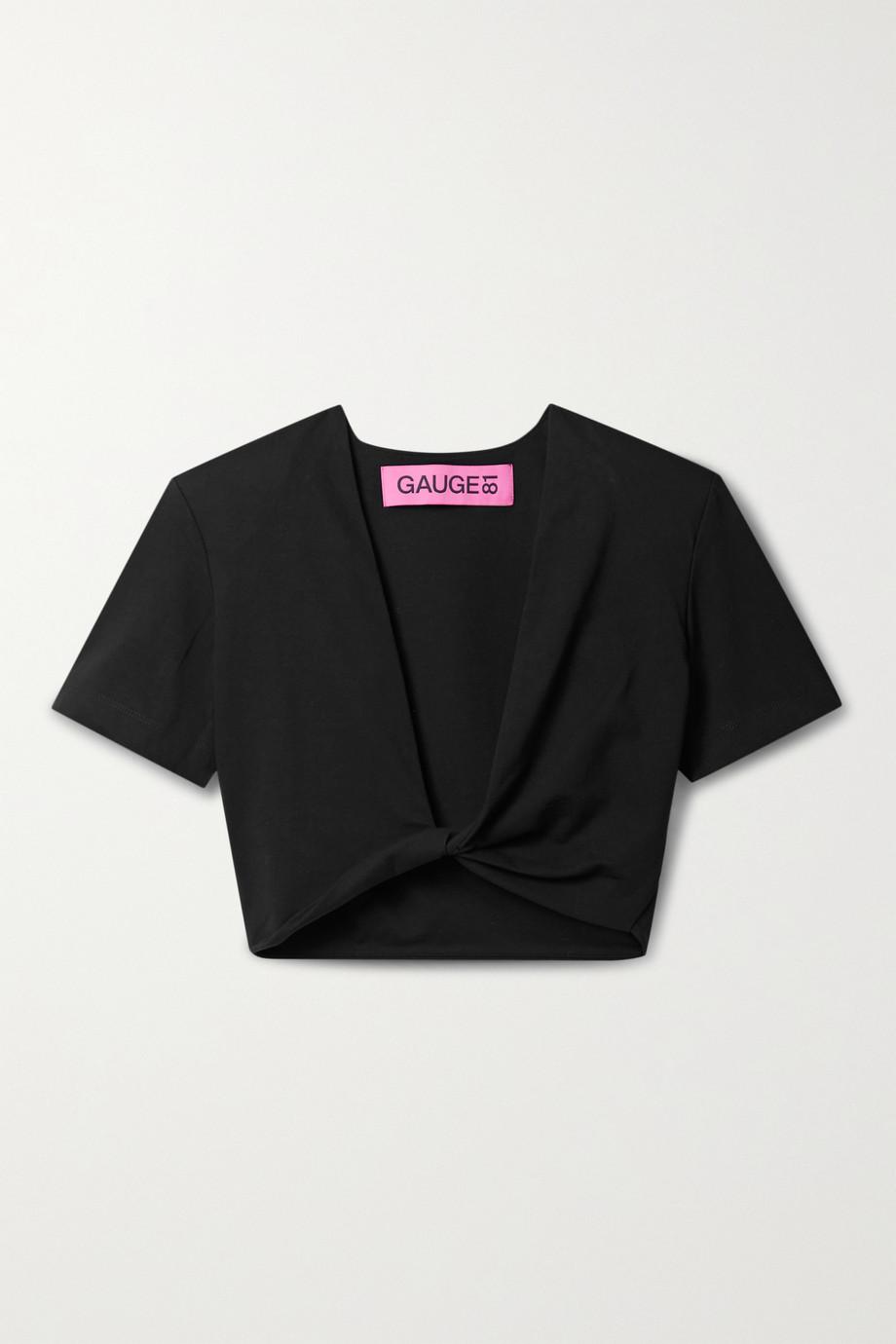 GAUGE81 T-shirt raccourci torsadé sur le devant en jersey de coton Keila