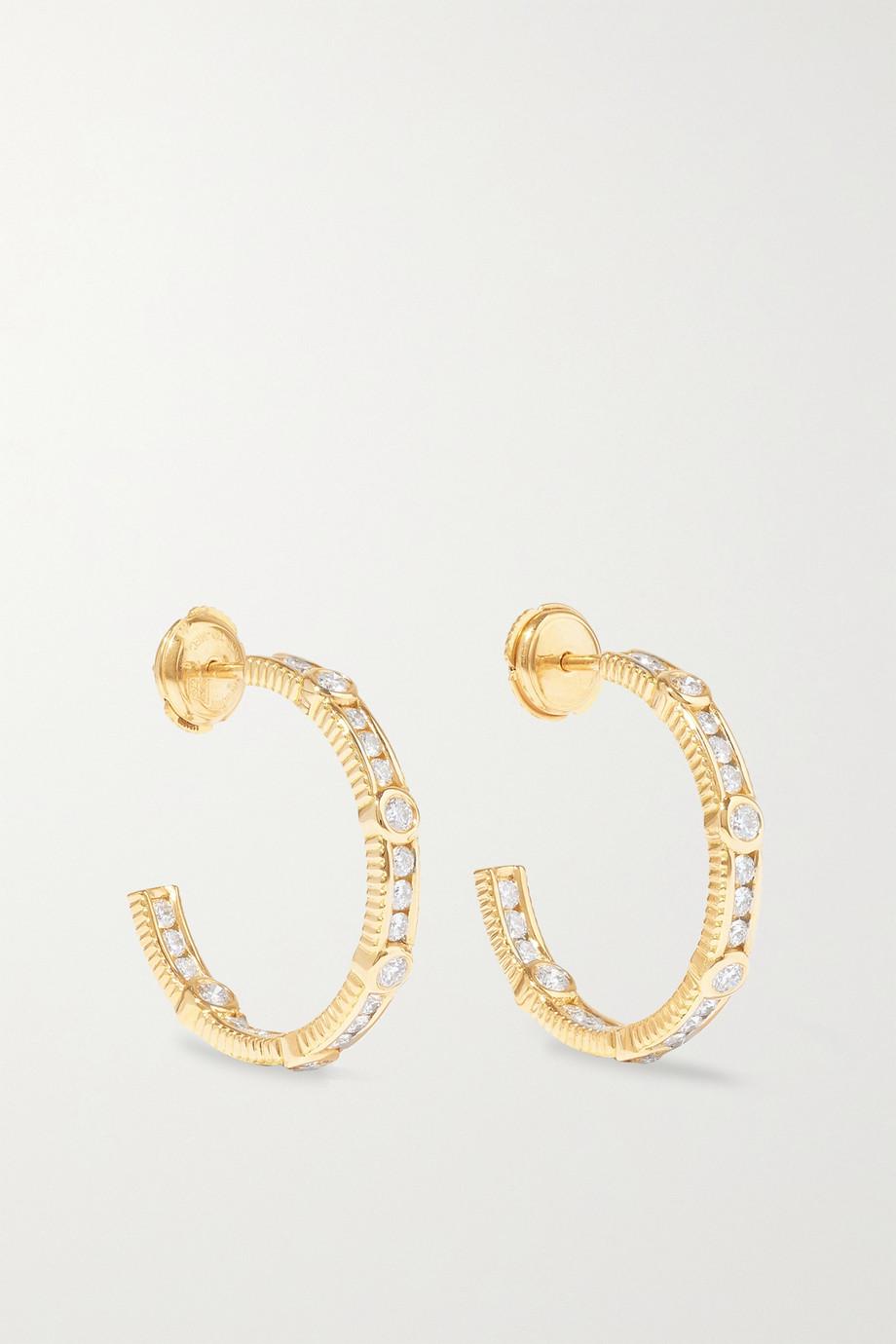 Viltier Boucles d'oreilles en or 18 carats et diamants Rayon