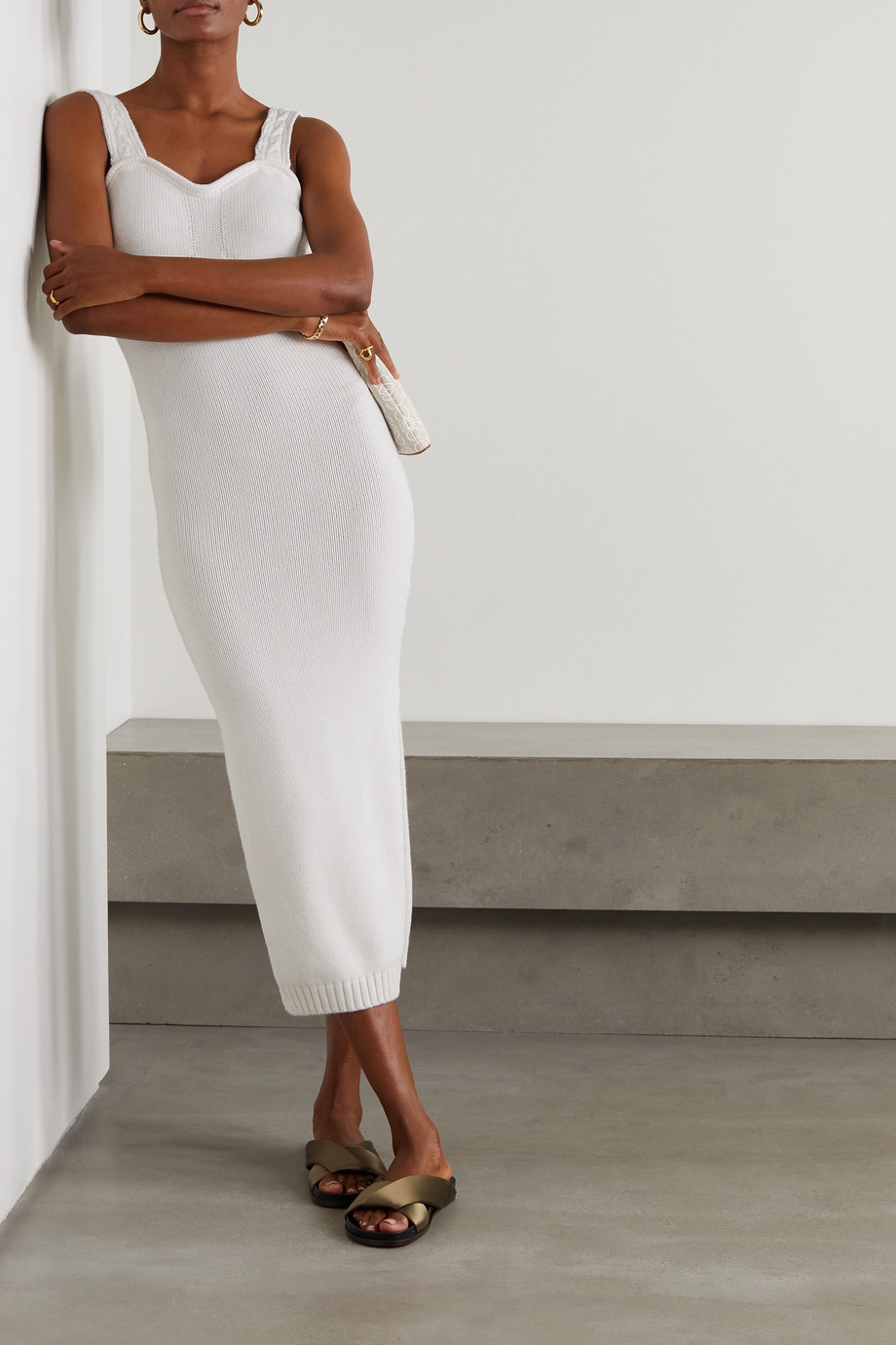 Joslin + NET SUSTAIN Skye cotton and cashmere-blend midi dress