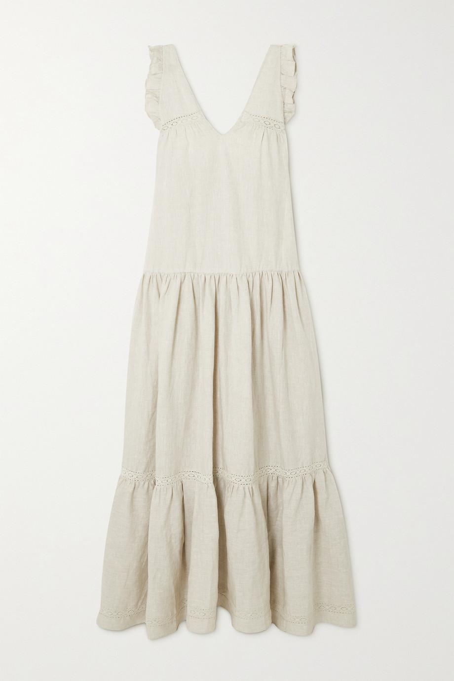 Joslin + NET SUSTAIN Gracie crocheted lace-trimmed linen maxi dress