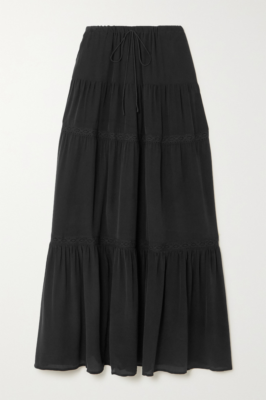 Joslin + NET SUSTAIN Adalyia crocheted lace-trimmed silk crepe de chine maxi skirt