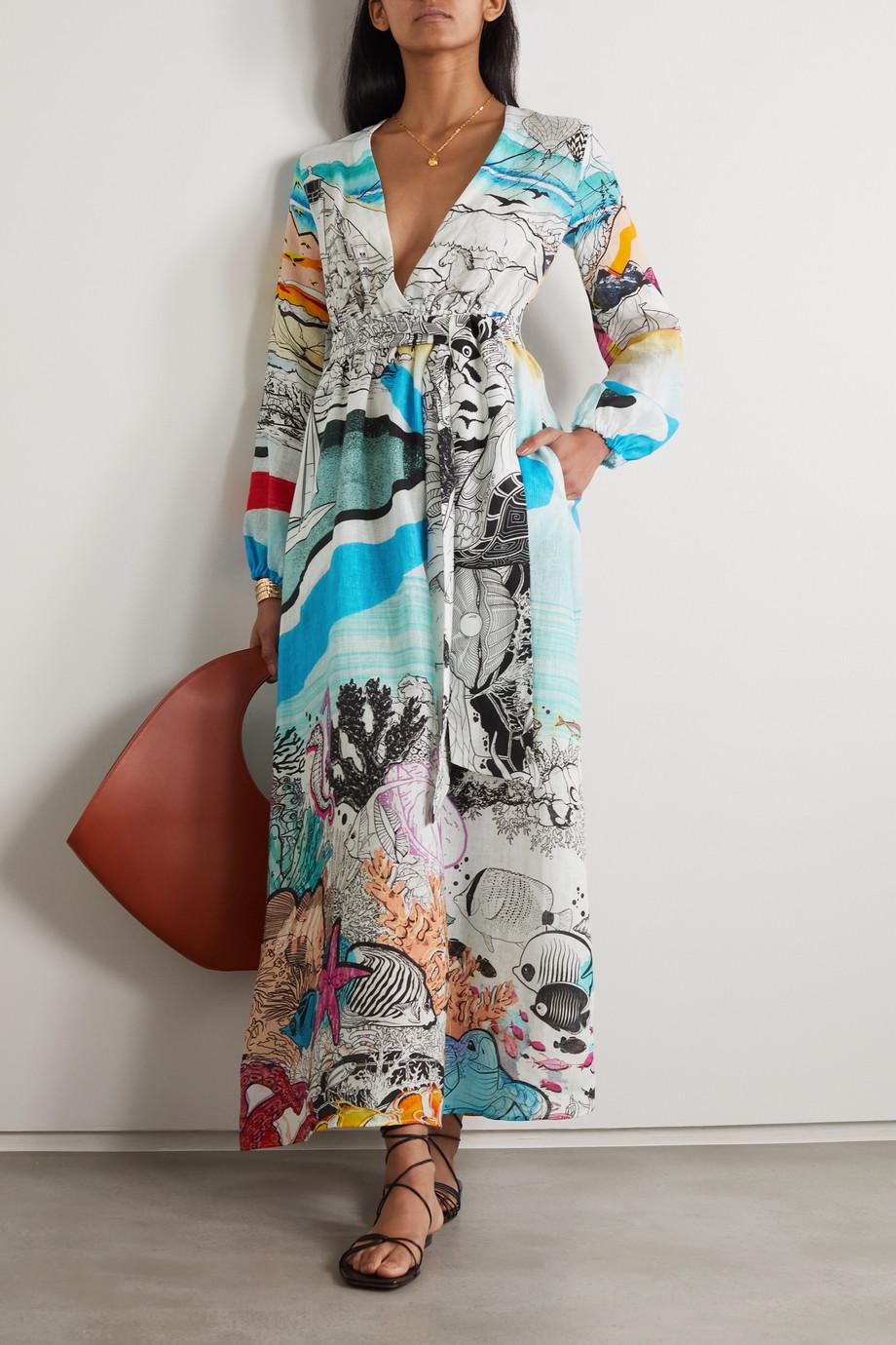 Mary Katrantzou MARY-MARE Robe longue en gaze de lin imprimée Ithaki