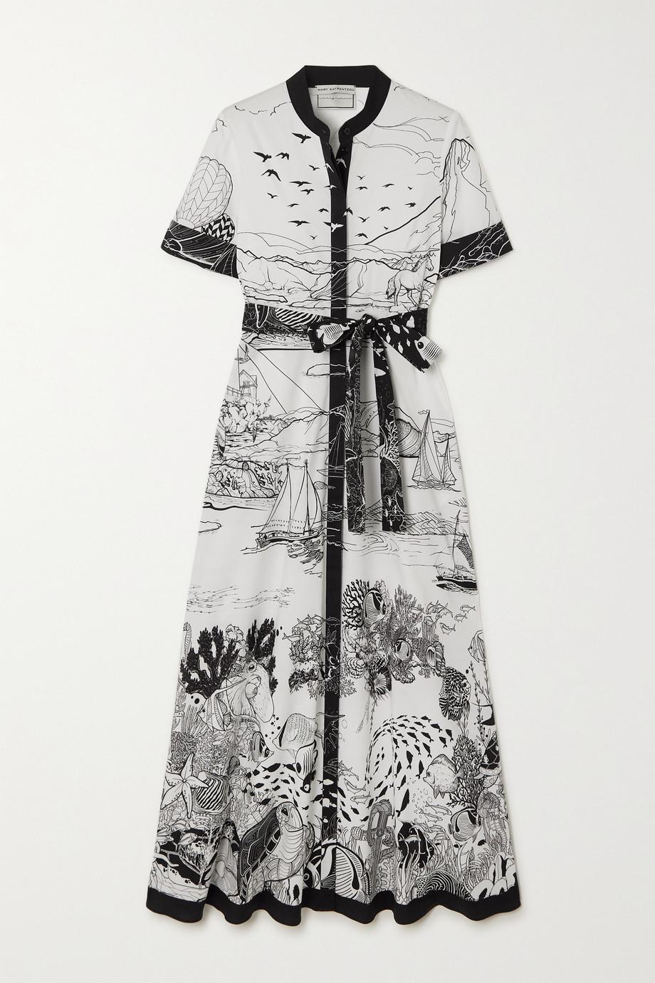 Mary Katrantzou MARY-MARE Robe longue en popeline de coton mélangé imprimée à ceinture Como