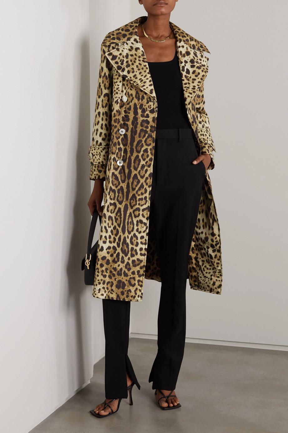 Dolce & Gabbana Trench-coat en nylon rembourré à imprimé léopard Diva