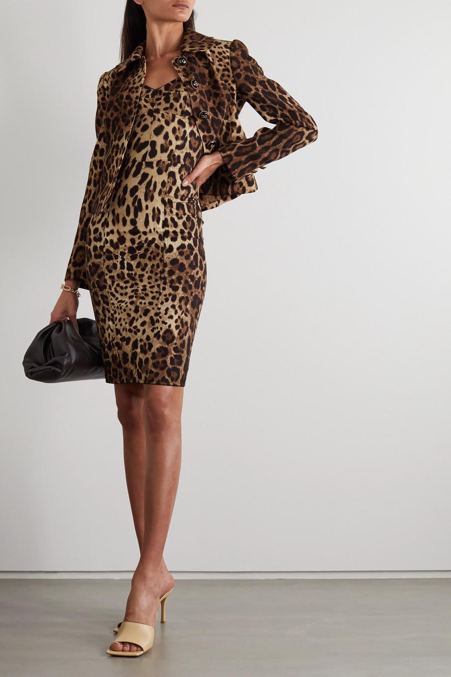 Dolce & Gabbana Robe en charmeuse de soie mélangée à imprimé léopard