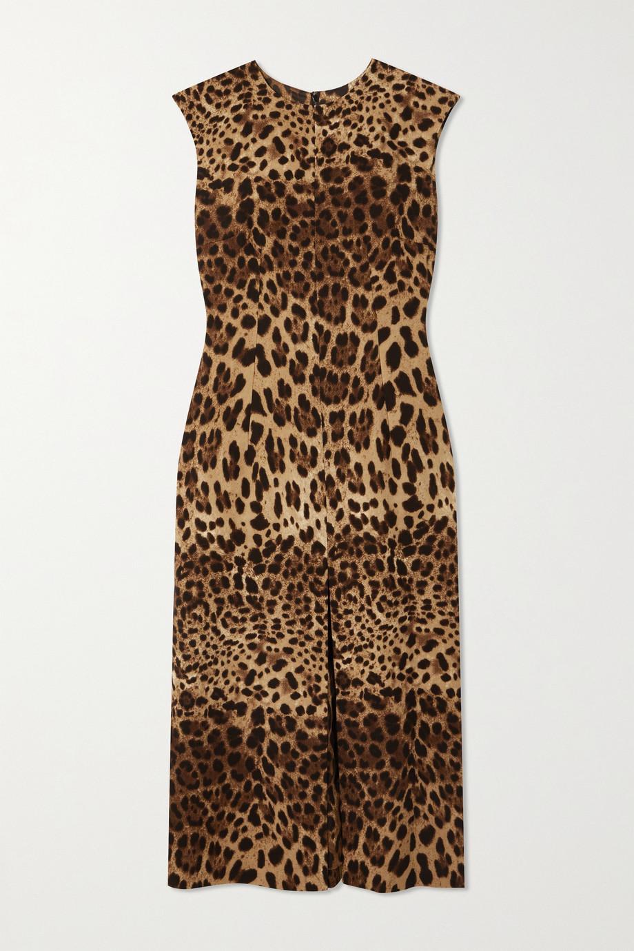 Dolce & Gabbana Mini-robe en crêpe de laine à imprimé léopard
