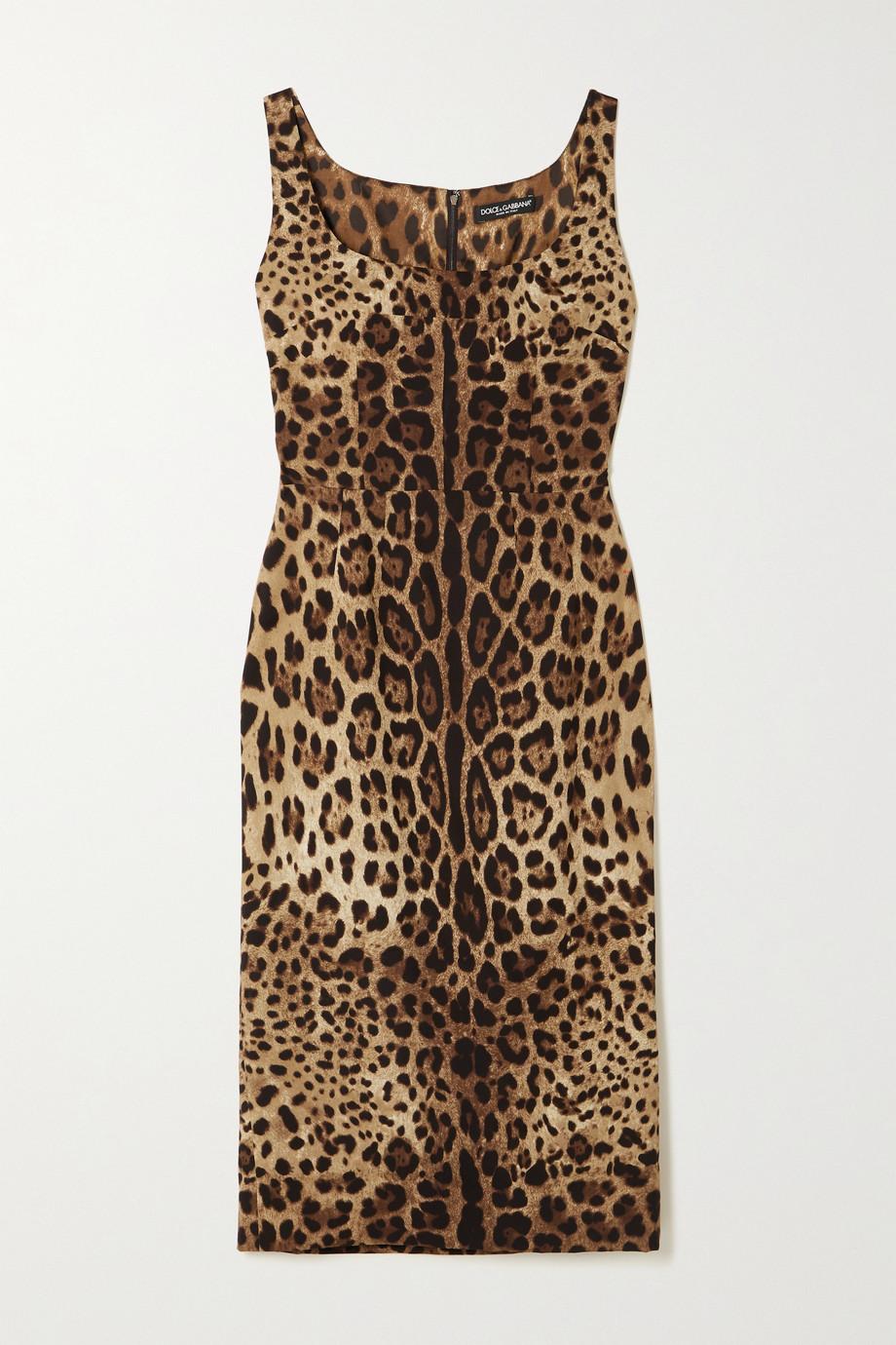 Dolce & Gabbana Robe midi en charmeuse de soie mélangée à imprimé léopard