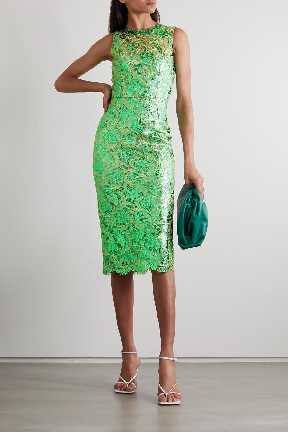 Dolce & Gabbana Robe midi en dentelle cordonnet de coton mélangé à enduit métallisé