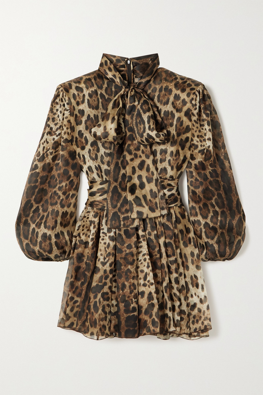 Dolce & Gabbana Mini-robe en organza de soie mélangée à imprimé léopard et à nœud lavallière
