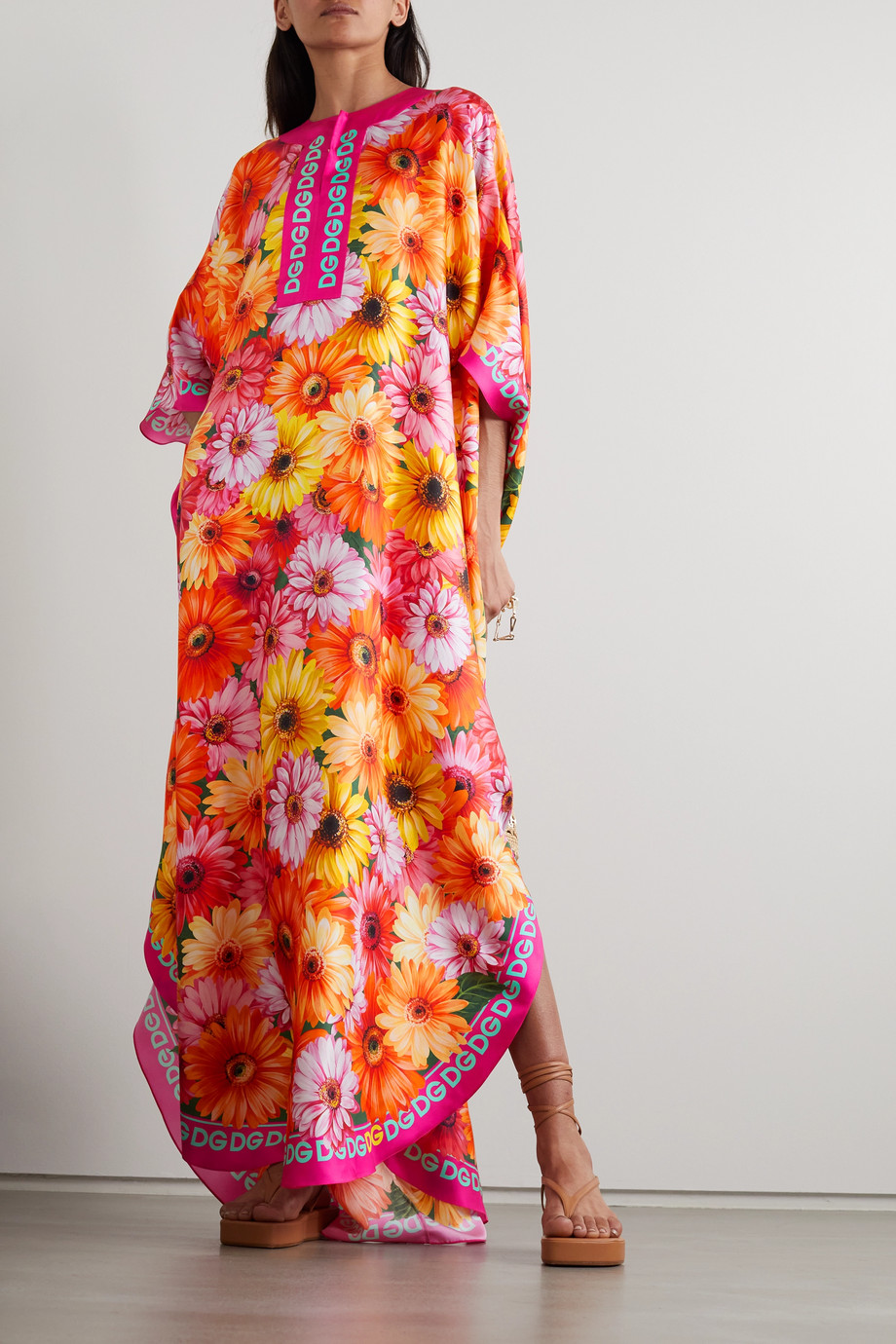 Dolce & Gabbana Cafetan en serge de soie à imprimé fleuri